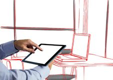 Hand with tablet in front of office red lines with black details Royalty Free Stock Images