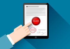 Hand with tablet, online shopping, phishing. Payment security, fraud, account violation Royalty Free Stock Photography
