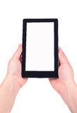 Hand and Tablet PC. Photos on white background Royalty Free Stock Photo