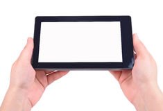 Hand and Tablet PC Royalty Free Stock Images