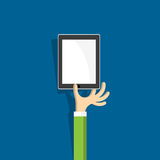 Hand with tablet (pc)  in cartoon style. Vector EPS10 Stock Images
