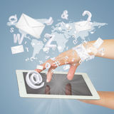 Hand, tablet pc, envelopes and letters Stock Photos