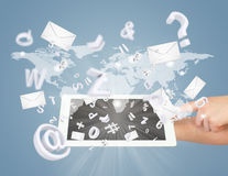 Hand, tablet pc, envelopes and letters Stock Photo