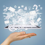 Hand, tablet pc, envelopes and letters Royalty Free Stock Photos