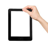 Hand in the tablet PC. Isolated on white background Stock Photography