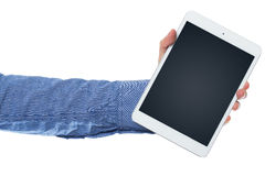 Hand and tablet pc Royalty Free Stock Image