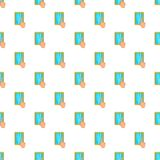 Hand on tablet puts crosses pattern, cartoon style Royalty Free Stock Photo