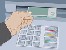 Hand take cash out from ATM Royalty Free Stock Photo