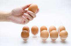 Hand take a egg. In background white Royalty Free Stock Photography