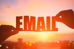 Hand take email word Royalty Free Stock Photography