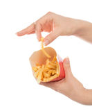 Hand take French fries chips meal Stock Photography