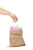 Hand take money in the bag Royalty Free Stock Image