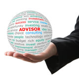 Hand take white ball with red inscription Advisor Royalty Free Stock Photos