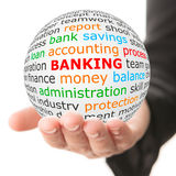 Hand take white ball with red inscription banking Royalty Free Stock Photos