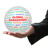 Hand take white ball with red inscription global marketing Royalty Free Stock Images