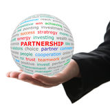 Hand take white ball with red inscription Partnership Stock Photos