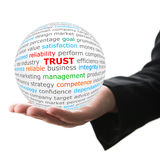 Hand take white ball with red inscription trust Royalty Free Stock Photography