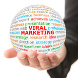 Hand take white ball with red inscription Viral Marketing Stock Image