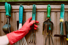 Hand takes garden tools Royalty Free Stock Images