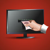 Hand takes the money at the monitor. Icon Royalty Free Stock Image