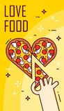 Hand takes a slice of pizza in the shape of heart. Vector banner for fast food. Thin line flat design card.  Royalty Free Stock Photography