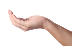 Hand takes something Stock Photo