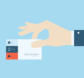 Hand taking business card Royalty Free Stock Photo