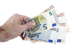 Hand taking euro banknotes Stock Image