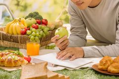 Hand taking fruit from picnic basket in park stock photography