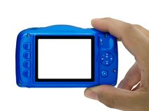 hand taking picture compact camera blank display isolated royalty free stock photos