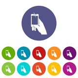 Hand taking pictures on cell phone set icons Royalty Free Stock Photos