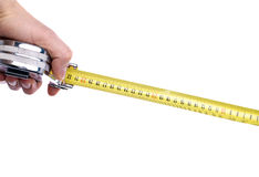 Hand with tape measure Royalty Free Stock Photo