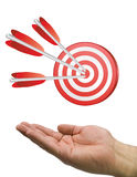 Hand and target white Royalty Free Stock Photos