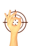 Hand and target on a white background Royalty Free Stock Photography