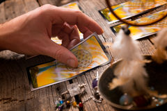 Hand with tarot cards Royalty Free Stock Images