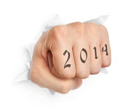 Hand with 2014 tattoo Royalty Free Stock Images