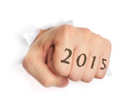 Hand with 2015 tattoo Stock Images