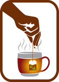 Hand tea pack logo Stock Photo