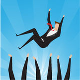 Successful businessman being throwing up by his teamwork. Success and team work royalty free illustration