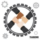 Hand Teamwork Illustration Vector 10. Hand Teamwork with gear Illustration Vector 10 Royalty Free Stock Photos