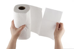 Hand tearing paper towel with clipping path stock photography