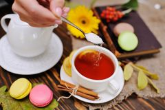 Hand with a teaspoon pours sugar into the tea with a lemon close-up. Against a backdrop of macaroons and old books Stock Photography