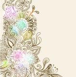 Hand tecknad blom- bakgrund Royaltyfria Foton
