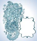 Hand tecknad blom- bakgrund med etiketten Royaltyfri Bild