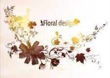 Hand tecknad blom- design Royaltyfri Illustrationer