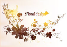 Hand tecknad blom- design Royaltyfri Foto