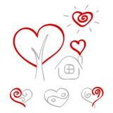 Hand tecknade hjärtor 2 royaltyfri illustrationer
