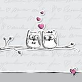 Hand tecknade owls Fotografering för Bildbyråer