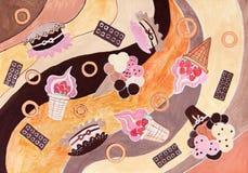 Hand teckningen av söt produce för bagerit. stock illustrationer