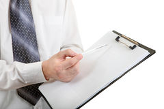 Hand of Teenager on Clipboard Closeup Stock Image